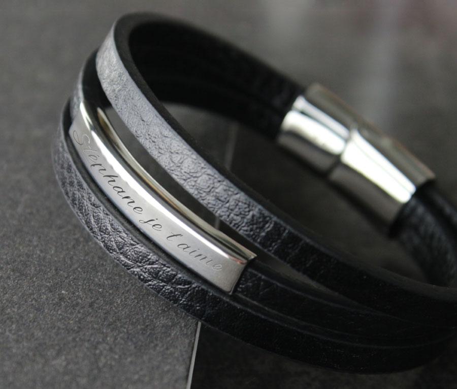 Bracelet personnalisé pour Homme, en Cuir.