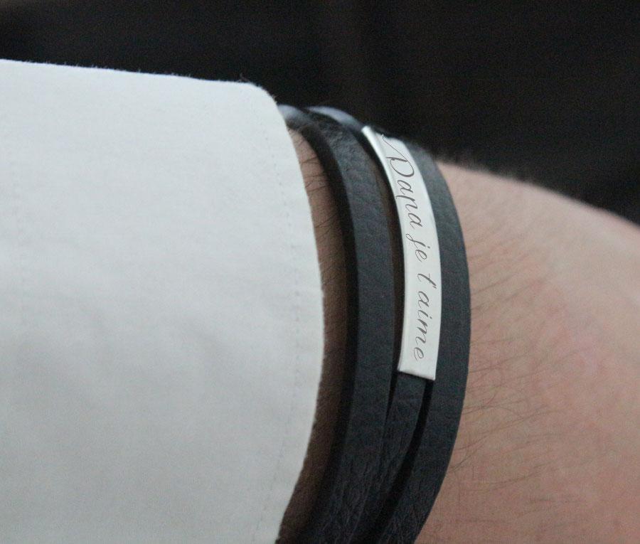 pas mal sélection mondiale de Excellente qualité Bracelet personnalisé pour Homme, en Cuir