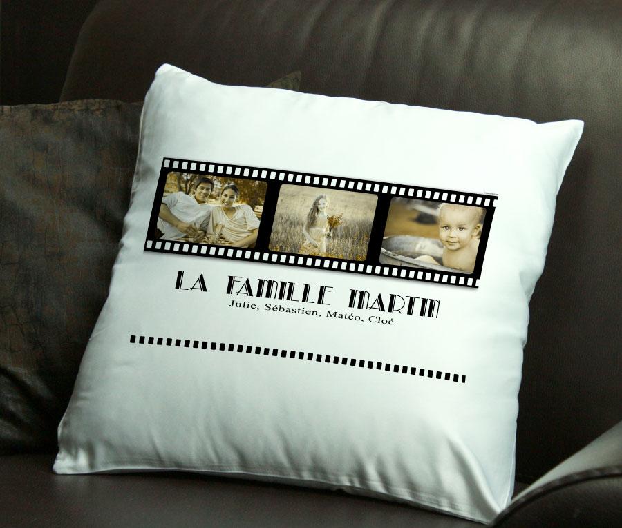 cadeau personnalis coussin personnalis de vos trois plus belles photos. Black Bedroom Furniture Sets. Home Design Ideas